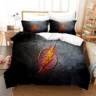AMTAN 3D The Flash Duvet Cover Set for Kids 3 Piece The Superhero The Flash Bedding 100% Polyester Fiber Kids Teenager Bed Set 1Duvet Cover 2Pillow Case Queen Size: Home & Kitchen