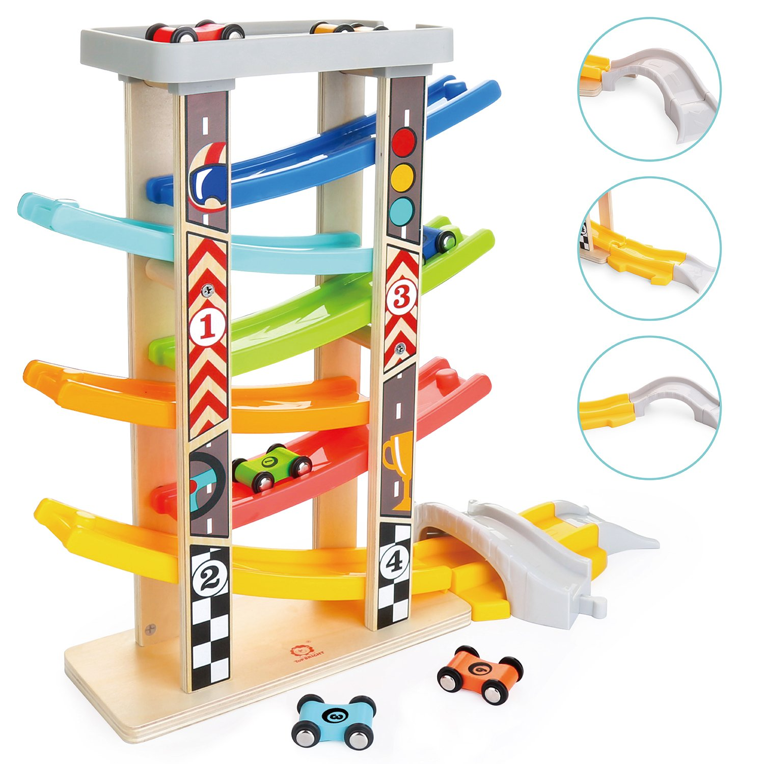TOP BRIGHT Toddler Toys Race Track for 1 2 Year Old Boy Gifts Wooden Car Ramp Racer with 6 Mini Cars
