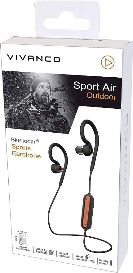 Vivanco Sport Air 4 Auriculares Deportivos Inalambricos Bluetooth, Manos Libres, hasta 6 Horas de