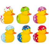 6 x Mini Novelty Easter Egg Rubber Duck Bath Toys Fun Kids Infant Set In Clear Plastic Box