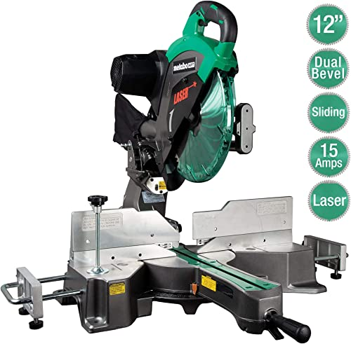 Metabo HPT 12 Sliding Compound Miter Saw, Double Bevel, Laser Marker, Compact Slide System, 15-Amp Motor, Large Sliding Fences, 5 Year Warranty C12RSH2S