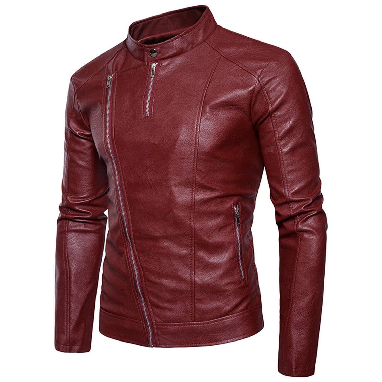 Black Leather Jacket Men Streetwear Slanted Zipper Zipper Zipper Zipper StandCollar Imitation Jacket aec62c