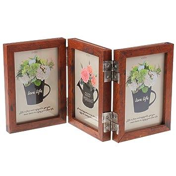 Amazoncom Ceciinion Wood Folding Photo Frame Triple Duplex Hinged