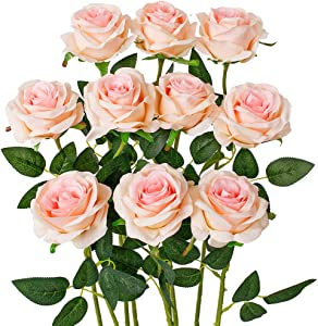 Luyue Artificial Silk Rose Flower Bouquet Wedding Party Home Decor, Pack of 10-Gradient Pink
