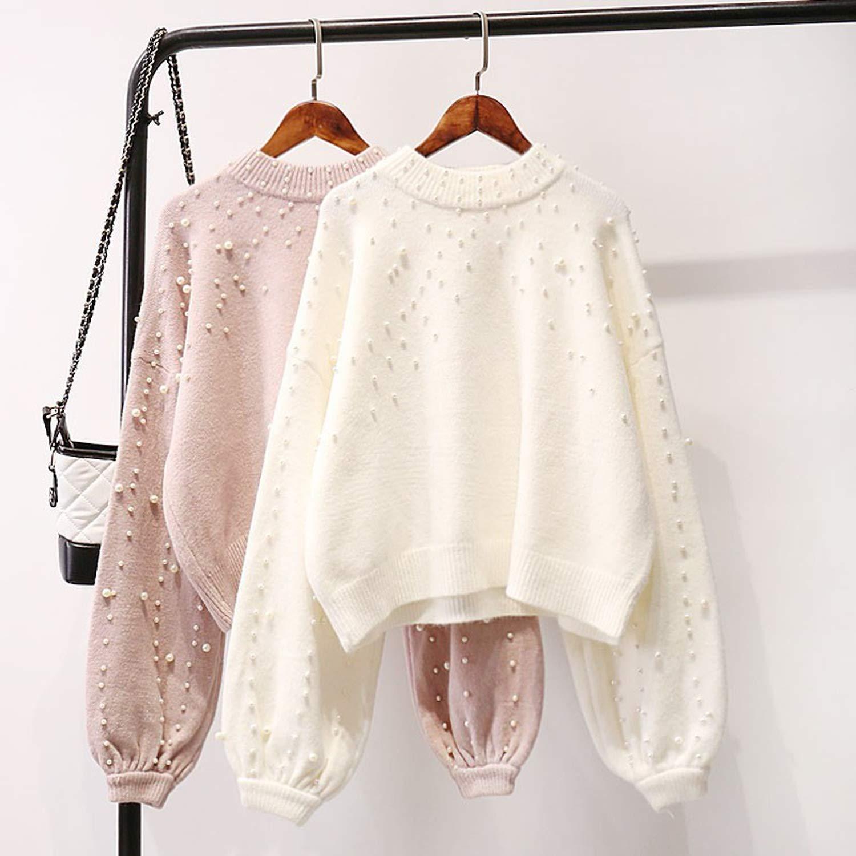 2f49dcfa8673 Amazon.com: Winter Clothes Women O Neck Lazy Pearl Beading Sweater Loose  Oversized Knit,Blue,One Size: Clothing