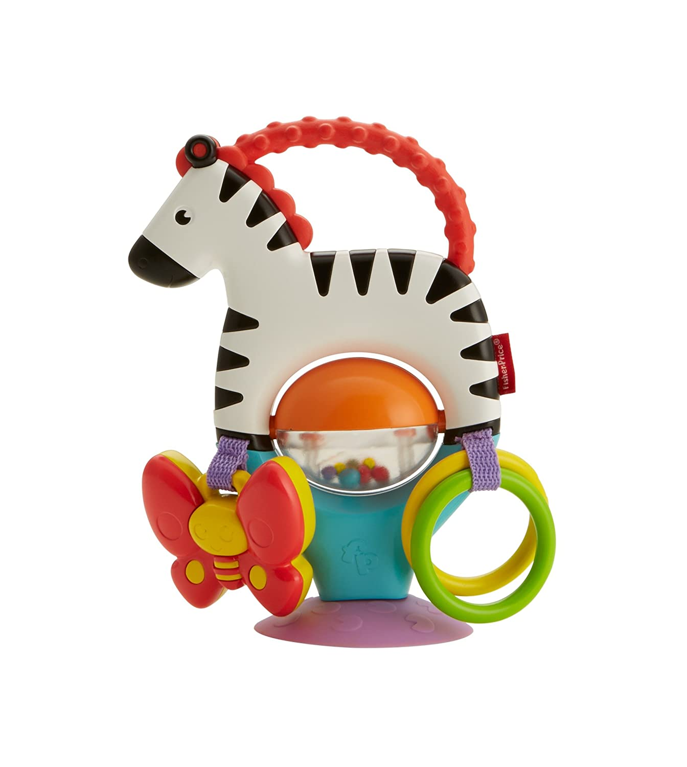 Fisher-Price Activity Zebra, New-born Sensory Toy with Suction Base with Colours, Textures and Sounds, 3 Months Plus Mattel FGJ11