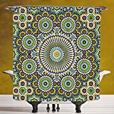 Durable Shower Curtain 3.0 by SCOCICI [ Arabesque,Ethnic Moroccan Middle Eastern Oriental Traditional Vintage Islamic Mosaic Motif,Multicolor ] Waterproof and Mildewproof Polyester Fabric Bath Curtain