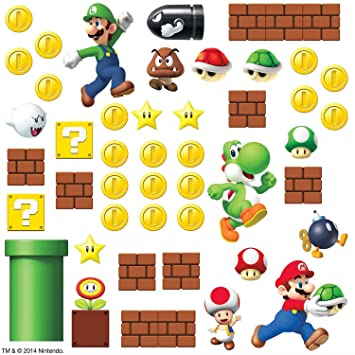 Amazon com roommates rmk2351scs nintendo super mario build a scene peel and stick wall decal 45 count home kitchen