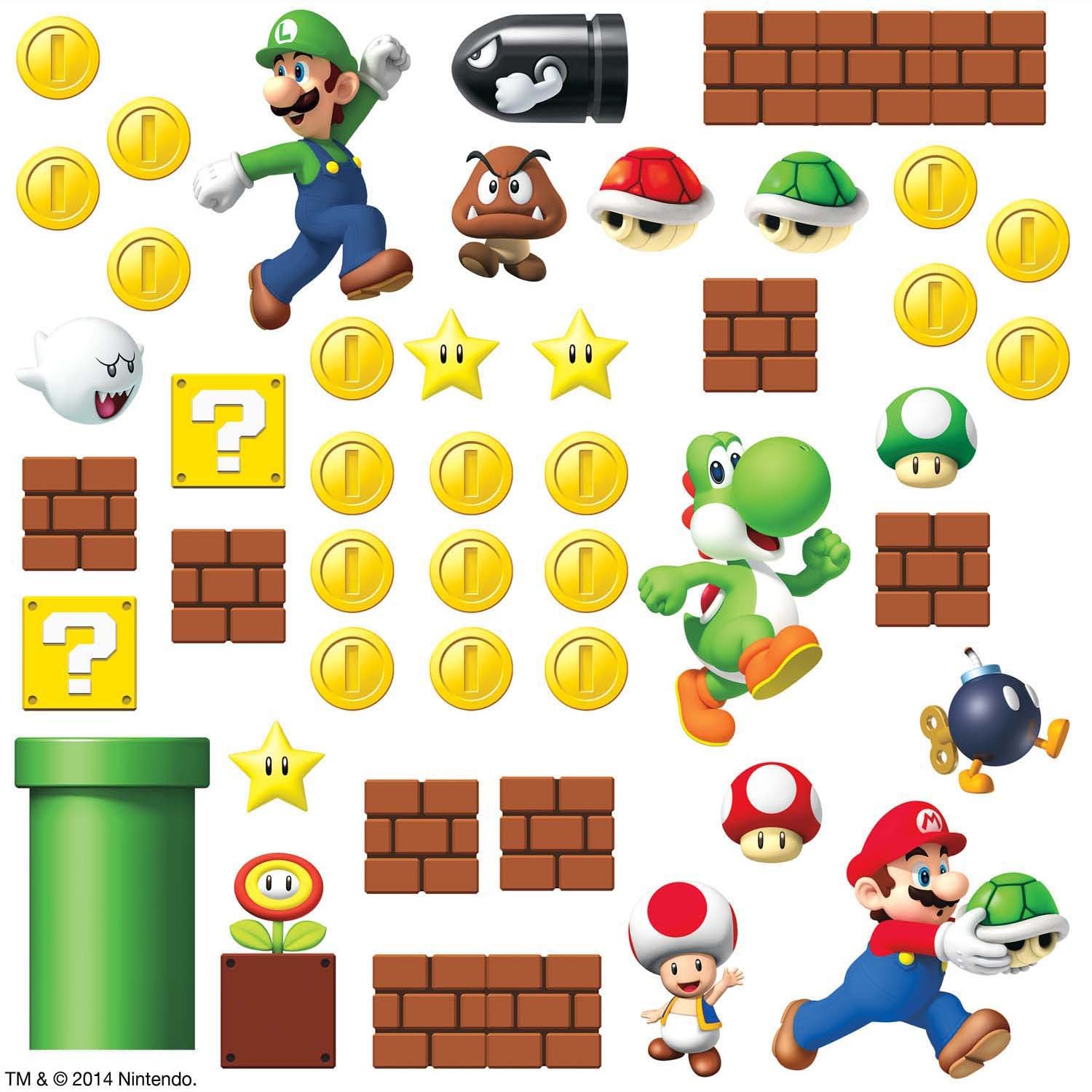 Amazon.com: HomeEvolution Giant Super Mario Build a Scene Peel and ...