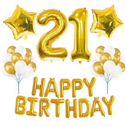 21st BIRTHDAY DECORATIONS PARTY KIT Aiernuo Happy Birthday Balloon Banner Number 21 Mylar Foil