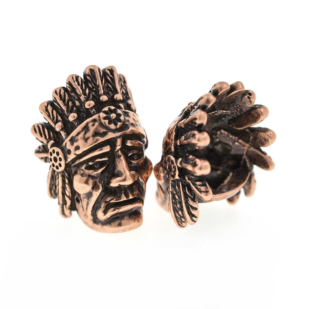 パラコードビーズIndian Chiefs真鍮チャームフィットEDCサバイバルブレスレットDIY Making 2pcs B0776XC7B3 アンティークコッパー アンティークコッパー