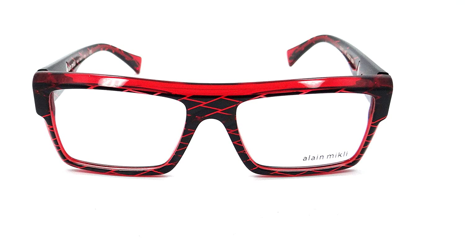 1de27a85ff Alain Mikli Rx Eyeglasses Frames A03032 B0BW 53x17 Black Diamond Red Italy  at Amazon Men s Clothing store