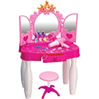 Play22 Pretend Play Girls Vanity Set with Mirror and Stool 20 PCS - Kids Makeup Vanity Table Set with Lights and Sounds…