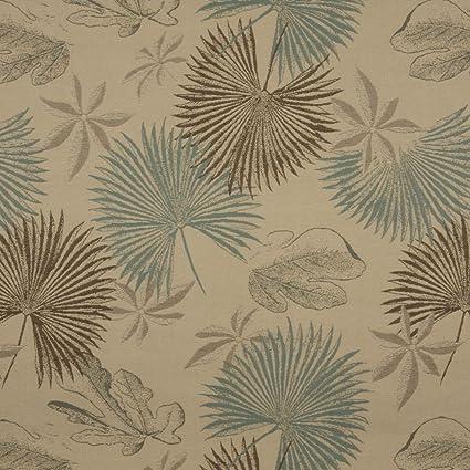 Amazon Com Aqua And Beige Large Tropical Fern And Palm Leaf Pattern