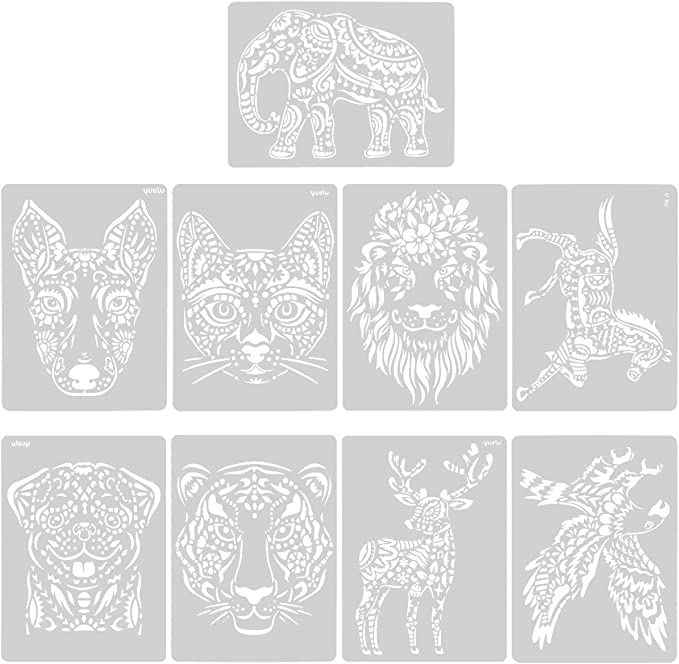 Diario DIY Stencial Plantillas Libro de Recuerdos Plantillas Pintura 9 Pcs Animal Painting Stencil Manualidades Ventana de Vidrio para Ni/ños Dibujar Plantillas Planner Stencils para Cuaderno