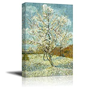 "wall26 The Pink Peach Tree by Vincent Van Gogh - Canvas Print Wall Art Famous Oil Painting Reproduction - 24"" x 36"""