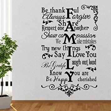 MAFENT(TM)House Rules Family Wall Decal Be Thankful Share Respect One Another Try  sc 1 st  Amazon.com : family wall decal - www.pureclipart.com