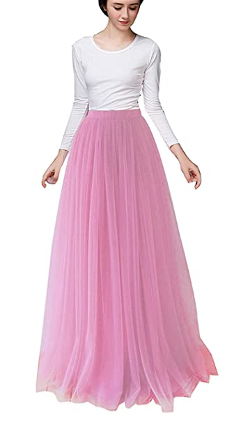 182e9a64a7 Women Long Tulle Skirt Dress Floor Length for Wedding Bridal Bridesmaids  High Waisted Maxi Tutu Party