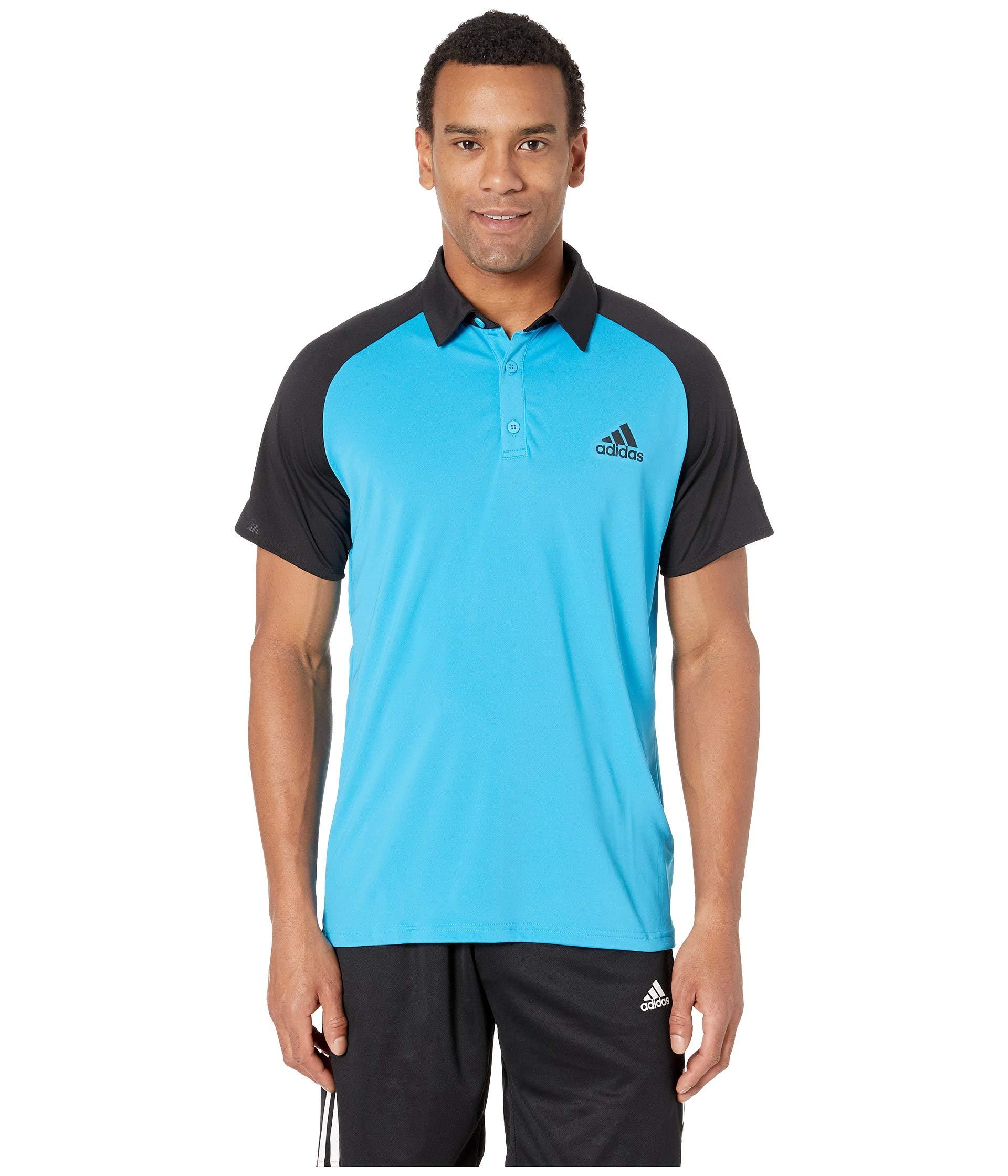 adidas Men's Club Colorblock Polo Shock Cyan/Black Large