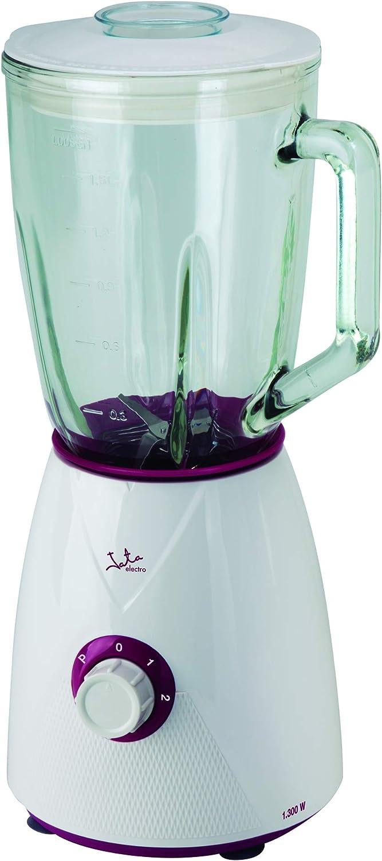 Batidora de vaso de cristal Jata BT265 con 1.300 W de potencia. Capaz de picar hielo. Su jarra tiene capacidad para 1,5 litros y se desmonta para una fácil limpieza. Cuchilla dentada de acero inox