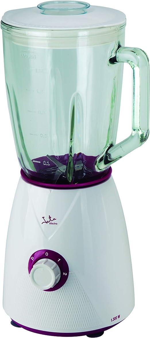 Batidora de vaso de cristal Jata BT265 con 1.300 W de potencia. Capaz de picar hielo.