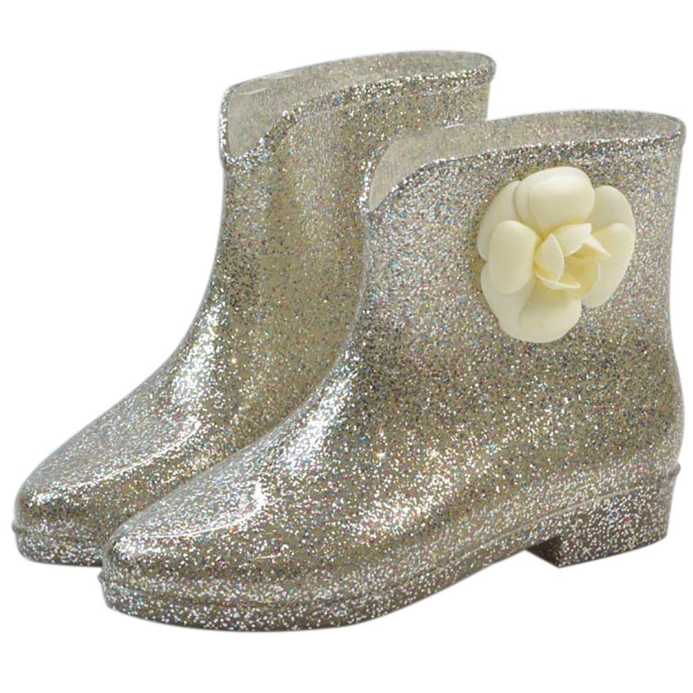 Women's Waterproof Rubber Jelly Anti-Slip Rain Boot Buckle Ankle High Rain Shoes B01J7EYNK2 8 B(M) US|Golden Flower
