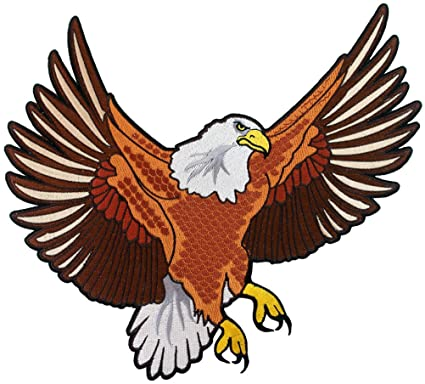 Bald Eagle Embroidered Patch Large Patriotic American Iron On Emblem