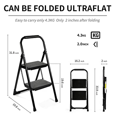 Matte Black EFFIELER Step Ladder Ergonomic 2 Step Stool Folding Step Stool with Wide Anti-Slip Pedal 370 lbs Sturdy Step Stool for Adults Multi-Use for Household,Kitchen,Office Step Ladder Stool