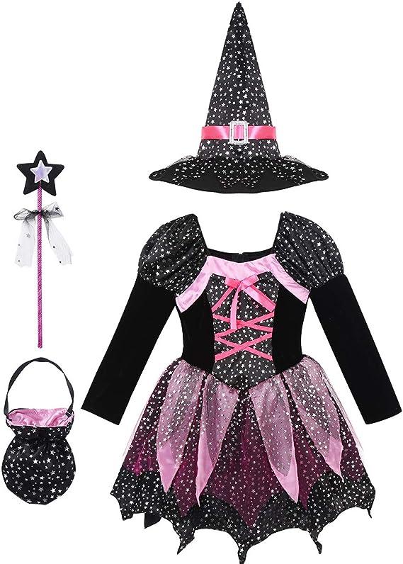 dPois Disfraz Bruja para Niña 3-10 Años Vestido Tutú Princesa ...