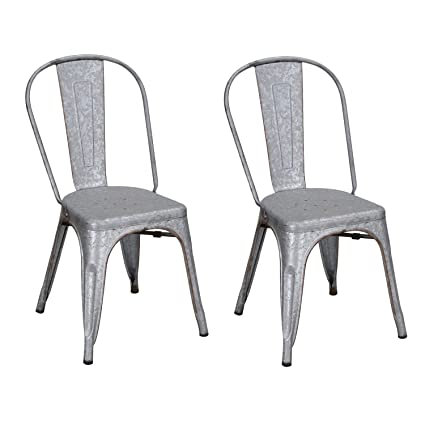 Adeco Metal Stackable Industrial Chic Dining Bistro Cafe Side Chairs,  Rusitc Grey (Set Of