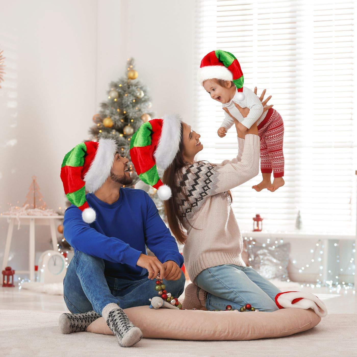 iMucci Christmas Santa Hat for Women Men Unisex-Adults Big Santa Hat Comfort Double Liner Plush Red Velvet