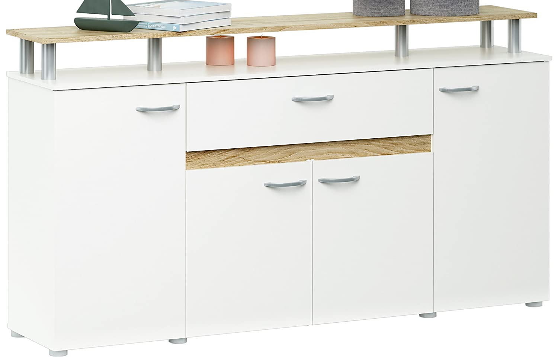 Meuble de cuisine pas cher - Enfilade avec 4 Portes/Tiroir Panneau de Particules Chêne Brossé/Blanc Perle 156 x 35 x 85 cm
