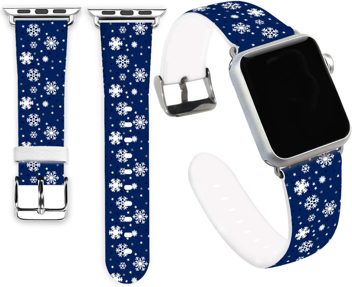 Snow Bands for iWatch 40mm/38mm,Jolook Soft Leather Sport Style Replacement Band Strap for iWatch 40mm 38mm Series 6/5/4/3/2/1 - Christmas Snow