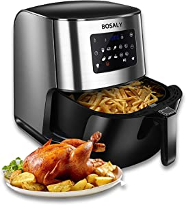 BOSALY Air Fryer, 6.3 Quart Electric Hot Air Fryers Oven, 1700-Watt Oilless Cooker for Roasting, Air Frying, LED Digital Touchscreen, Nonstick Basket