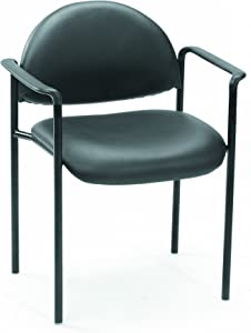 Boss Office Products Dimond Caressoft Stacking Chair with Arms in Black