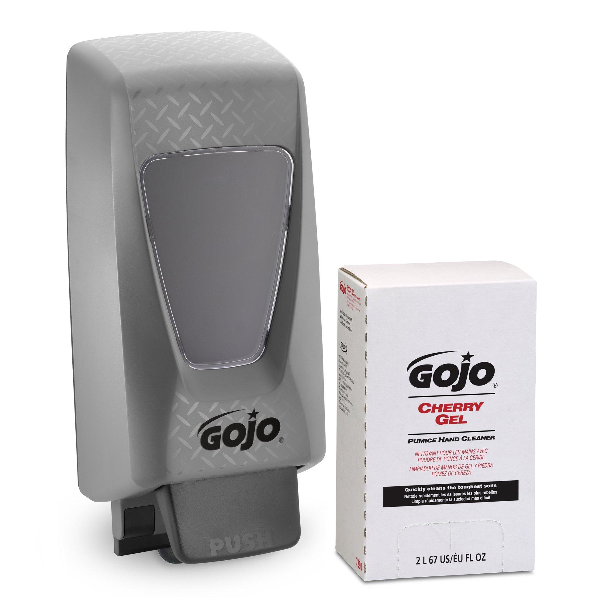 GOJO Cherry Gel Pumice Hand Cleaner, Cherry Fragrance, PRO TDX Starter Kit, 1-2000 mL Hand Cleaner Refill + 1 – GOJO PRO TDX Push Style Dispenser - 7290-D2