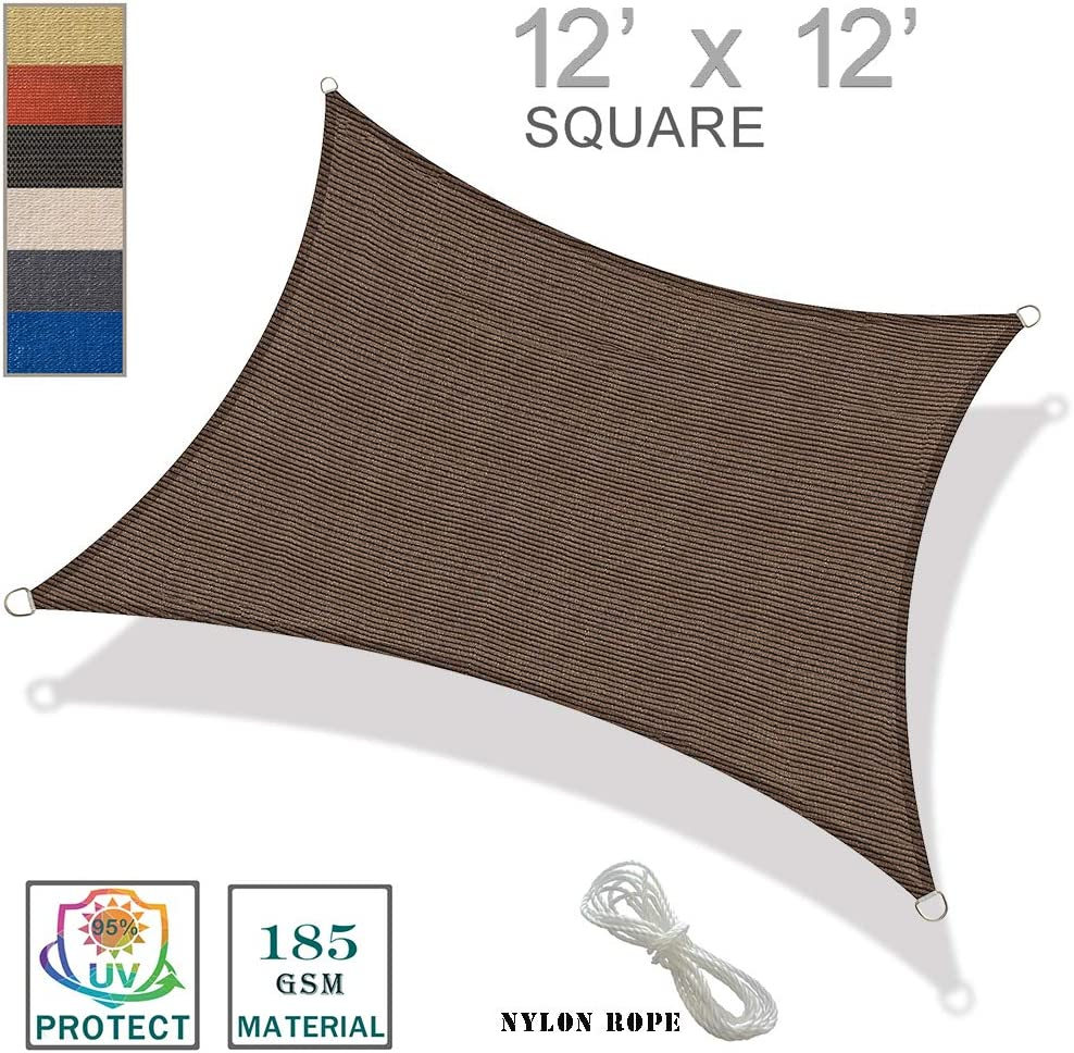SUNNY GUARD 12' x 12' Brown Square Sun Shade Sail UV Block for Outdoor Patio Garden