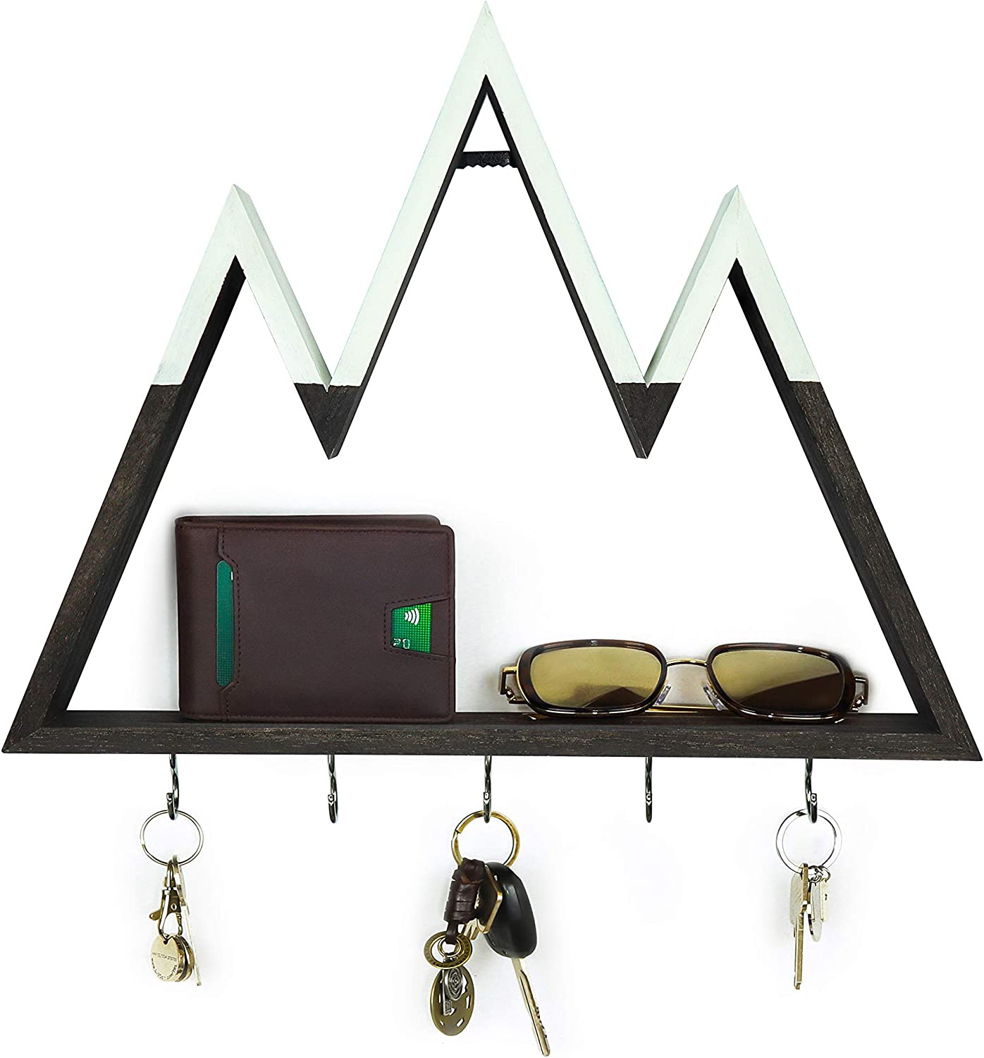 Leivo Mountain Shelf with Key Holders   Decorative Key Holder for Wall and Floating Shelf for Mountain Decor in Entryway, Kitchen, Bedroom, Nursery and Cabin   Key Hangers and Wall Jewelry Organizer