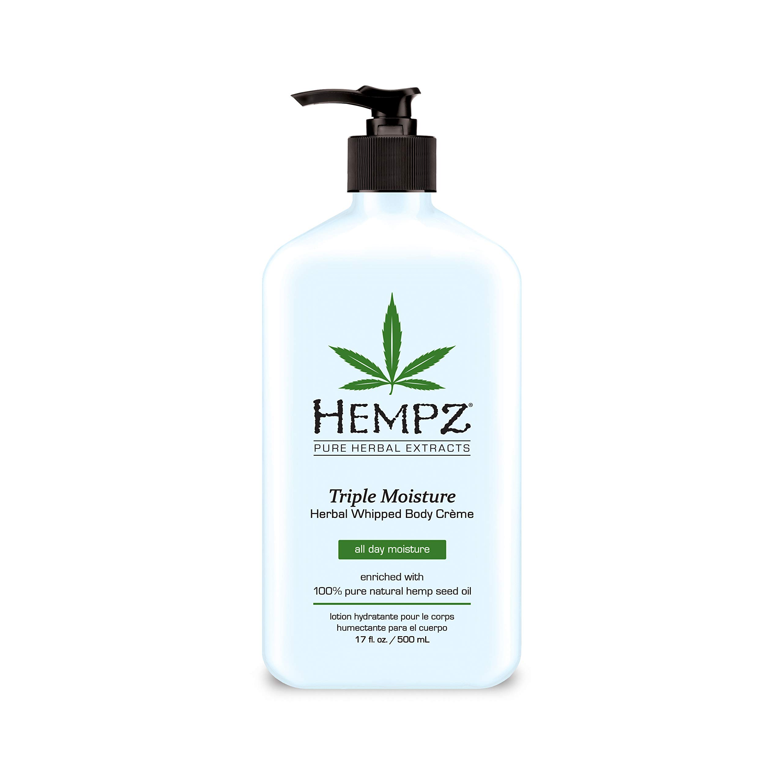 Hempz Natural Triple Moisture Herbal Whipped Body Creme with 100% Pure Hemp Seed Oil for 24-Hour Hydration - Moisturizing Vegan Skin Lotion with Yangu Oil, Peach and Grapefruit - Enriched Moisturizer by Hempz