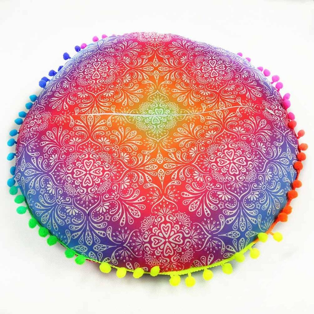 Funda para cojines redondos para el suelo de HKFV con Mandala hindú y diseño bohemio., Pattern A, 43*43cm