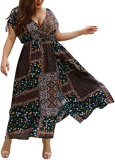 Lurcardo Vestidos Largo Mujer Talla Grande Moda Bolsillo Top Falda ...