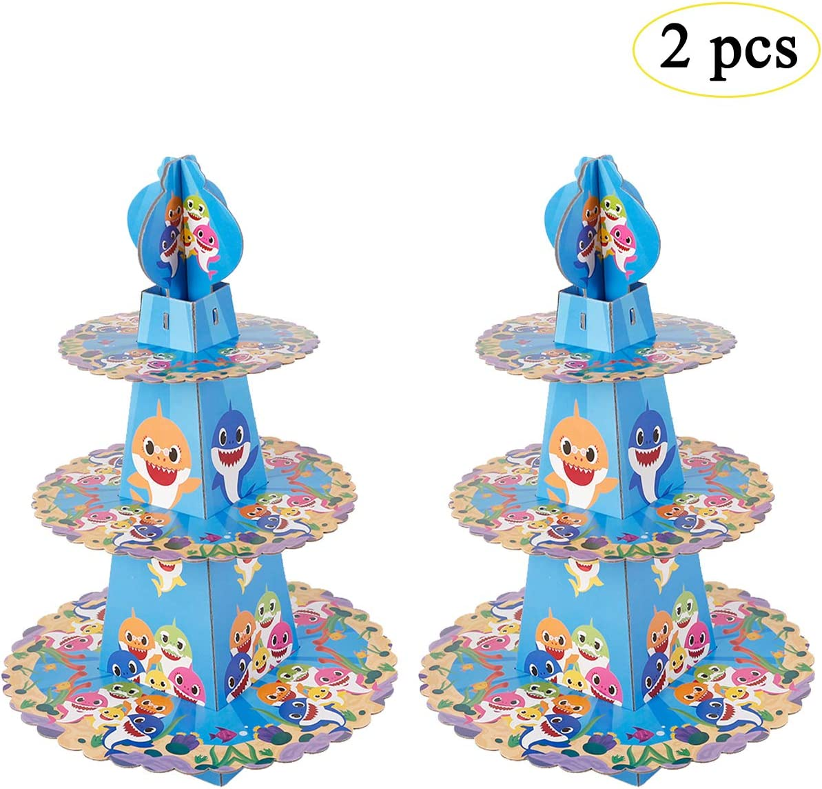 zhouweizhouwen Shark Party Supplies for Baby - Cupcake Stand Dessert Cupcake Holder for Kids Birthday Party,Baby Shower, Gender Reveal Party,or Baby Shark Themed Party