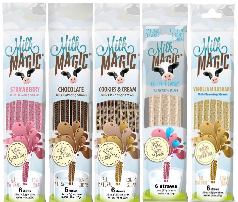 Amazon Com 4 Packs Official Milk Magic Flavored Straws