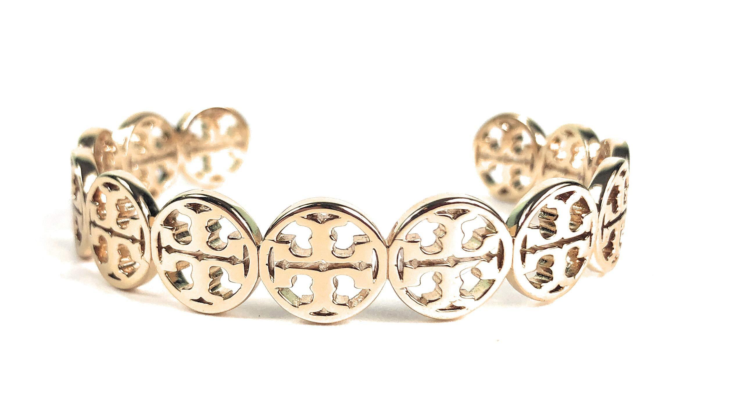 Tory Burch Frozen Logo Cuff Bracelet Goldtone Womans by Tory Burch
