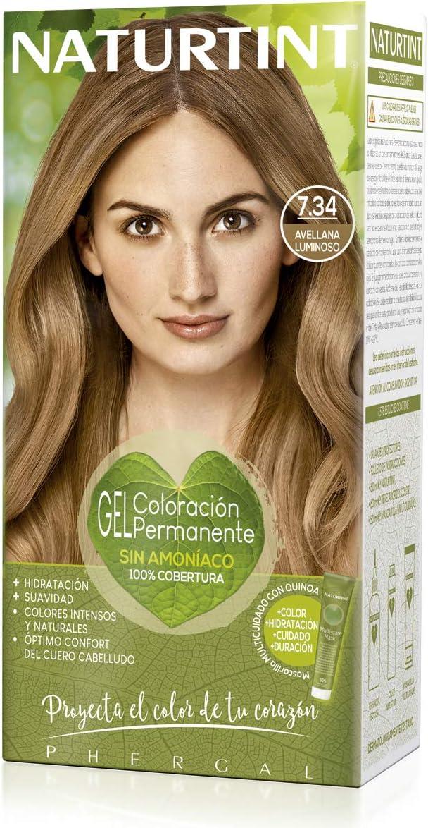 Naturtint | Coloración sin amoniaco | 100% cobertura de canas | Ingredientes vegetales | Color natural y duradero | 7.34 Avellano Luminoso | 170ml