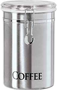 "Oggi 62-Ounce Brushed Stainless Steel ""Coffee"" Airtight Canister with Acrylic Lid"