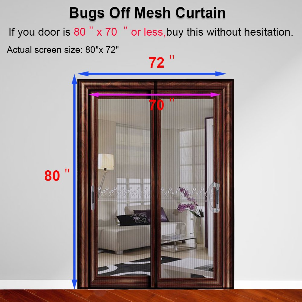 Magnetic screen door for french doorssliding glass doors patio magnetic screen door for french doorssliding glass doors patio doors fits doors up to 80hx70w 80x72curtainmax keeps bugs out lets fresh air in planetlyrics Choice Image
