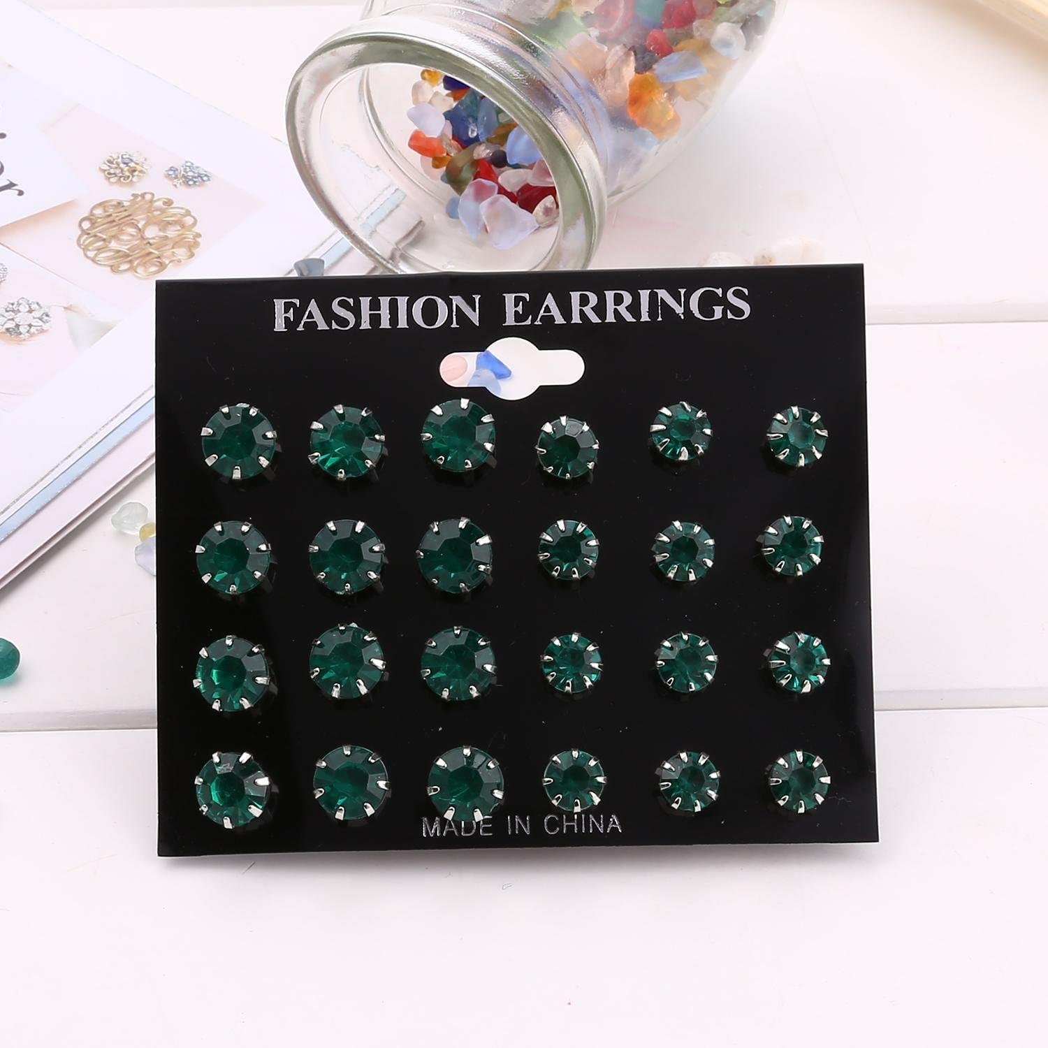 Meflying 12 Pairs Minimalist Fashion Rhinestone Inlaied Pierced Stud Earrings Stud