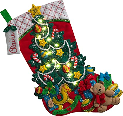 Christmas Stocking Kit.Bucilla 86710 Christmas Tree Surprise Stocking Kit