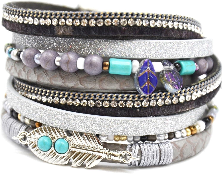 Oh My Shop BC2096D – Pulsera de doble vuelta, varias vueltas, estrás, brillantes, color gris con pluma étnica y piedras turquesa